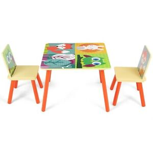 Kids Table And 2 Chairs Set With Cartoon Pattern