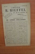 CATALOGUE DE LIVRES D'OCCASION n° 139 fin mai 1929 Librairie R. Rieffe