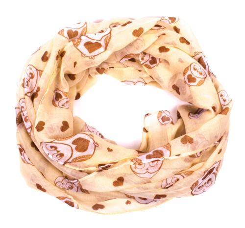 Damen Loop Schal Schlauchschal Tube Tuch mit Print Eule und Herz