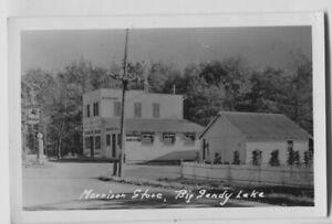 Big-Sandy-Lake-McGregor-Minnesota-Morrison-Store-Mobil-Gas-Photo-Postcard-RPPC