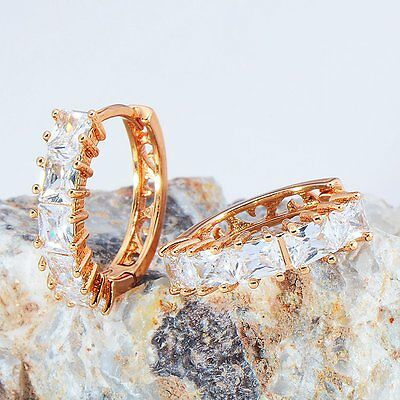 Fashion jewelry womens Yellow gold filled white crystal round hoop earrings lot