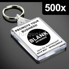 500x Premium Quality Clear Acrylic Blank Photo Keyrings Key Fobs 50 x 35 mm