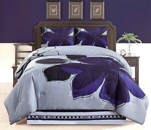 4Pc-Twin-Size-Navy-Blue-Gray-Black-Floral-Comforter-Set-Bedding