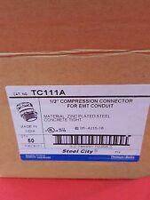 """50 Pcs, Thomas & Betts  1/2"""" COMPRESSION CONNECTORs FOR EMT CONDUIT, TC111A, NIB"""
