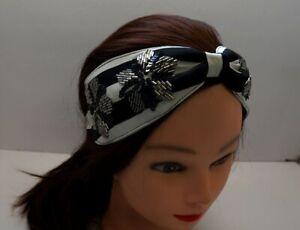 Black Chiffon Turban Twisted Gold Pearl Beads Flowers Headband W1-4//22