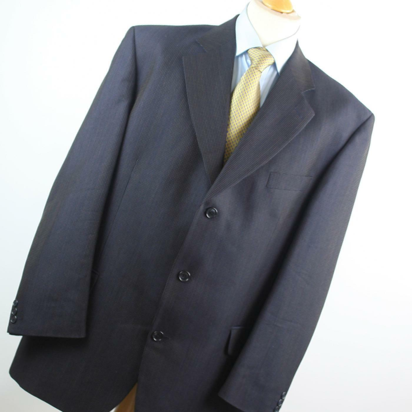 Van Kollem  Herren Blau Striped Wool Blend Single Breasted Suit 44/40 (Regular)