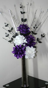 Image Is Loading Artificial Silk Flowers Purple Amp White Flower Arrangement