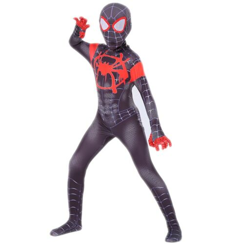Miles Morales Spider Man Costume Cosplay Spiderman Zentai Suit Adult Kids Outfit