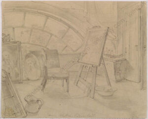 "Drawing Big Clearance Sale 1st Half Of 19th C Dedicated Adam Brenner ""artist's Atelier In Eisenstadt"""
