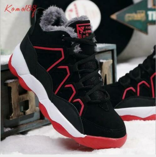 winter cotton shoes Mens warm fur lined lace up Casual Snow Sports Shoes
