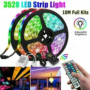 32FT-10M-3528-SMD-RGB-600-LED-LED-Luz-Tira-44Key-Control-Remoto-12V-US-Power