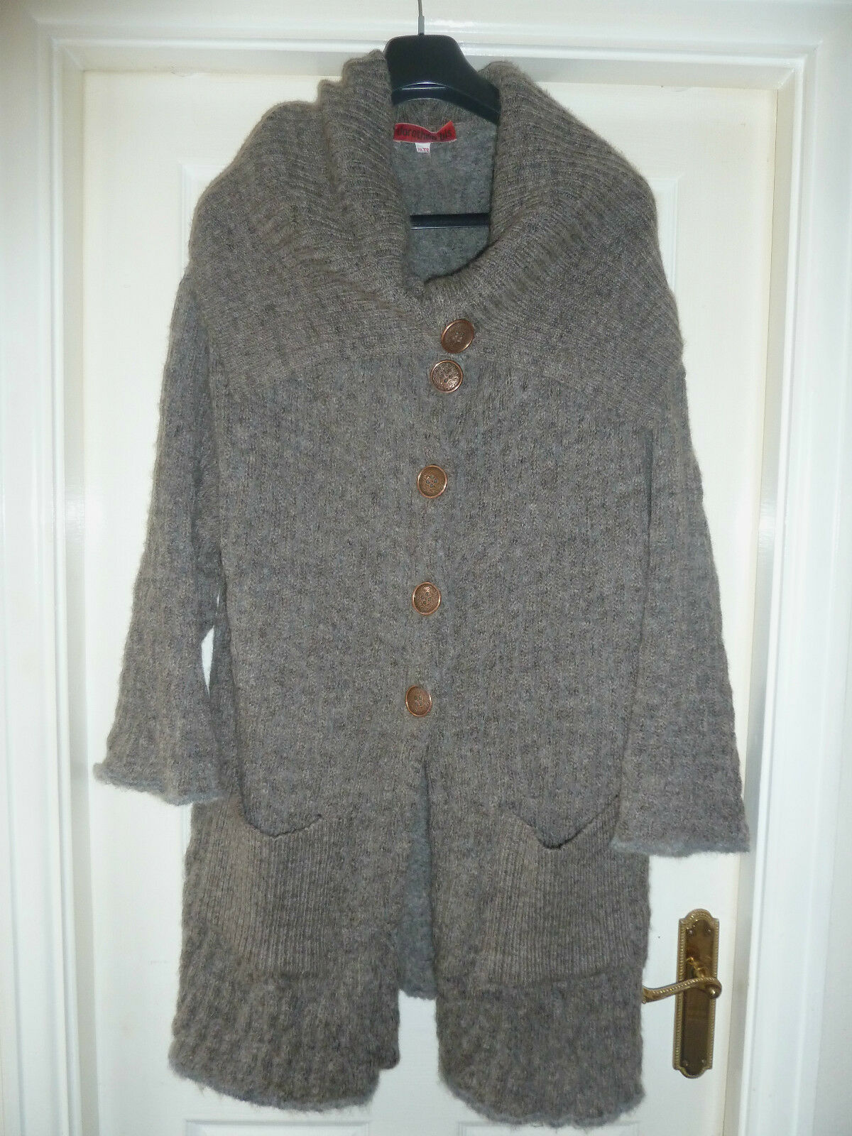 French Designer  Dgoldthee Bis  Textured Wool Cardigan Coat Size 14 16 Cost