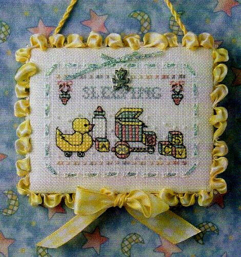 """""""Baby Sleeping Sign"""" Cross Stitch Pattern and Silver Charm THE SWEETHEART TREE"""