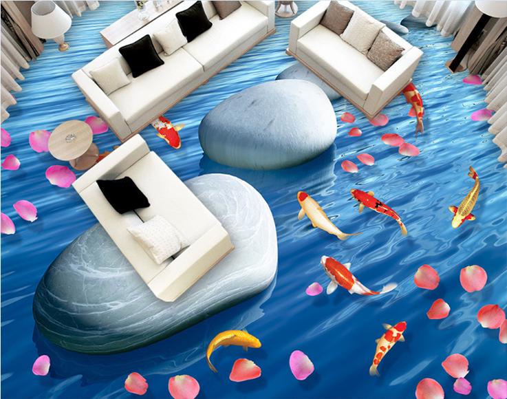 3D Koi Petals Stone 6 Floor WallPaper Murals Wall Print 5D AJ WALLPAPER UK Lemon