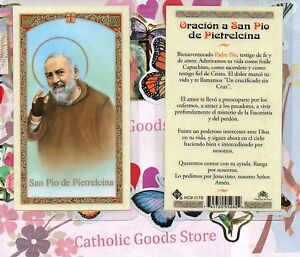 Oracion-un-San-Pio-de-Pietrelcina-Espanol-Laminado-Santa-Tarjeta