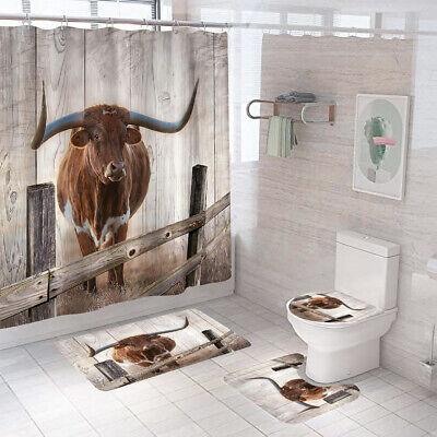 Longhorn Shower Curtain Bathroom Rug, Texas Longhorn Bathroom Set