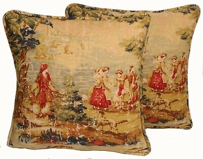 2 18 French Country Toile Bosporus Brick Tan Decorative Throw Pillow Covers Ebay