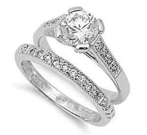 Solitaire-18K-White-Gold-GP-Simulated-Diamond-Size-8-Engagement-Ring-Set-S2