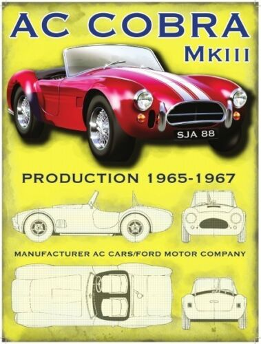 AC Cobra MK3 Classic Muscle Sports Car American Old Garage Large Metal Tin Sign