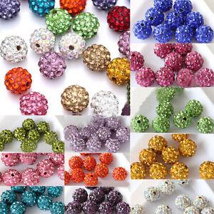 20Pcs-Handmade-Czech-Crystal-Rhinestones-Pave-Clay-Round-Disco-Ball-Spacer-Beads