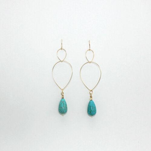 Women/'s Turquoise Drop//Dangle Laiton Boucles d/'oreilles pendantes EH1038