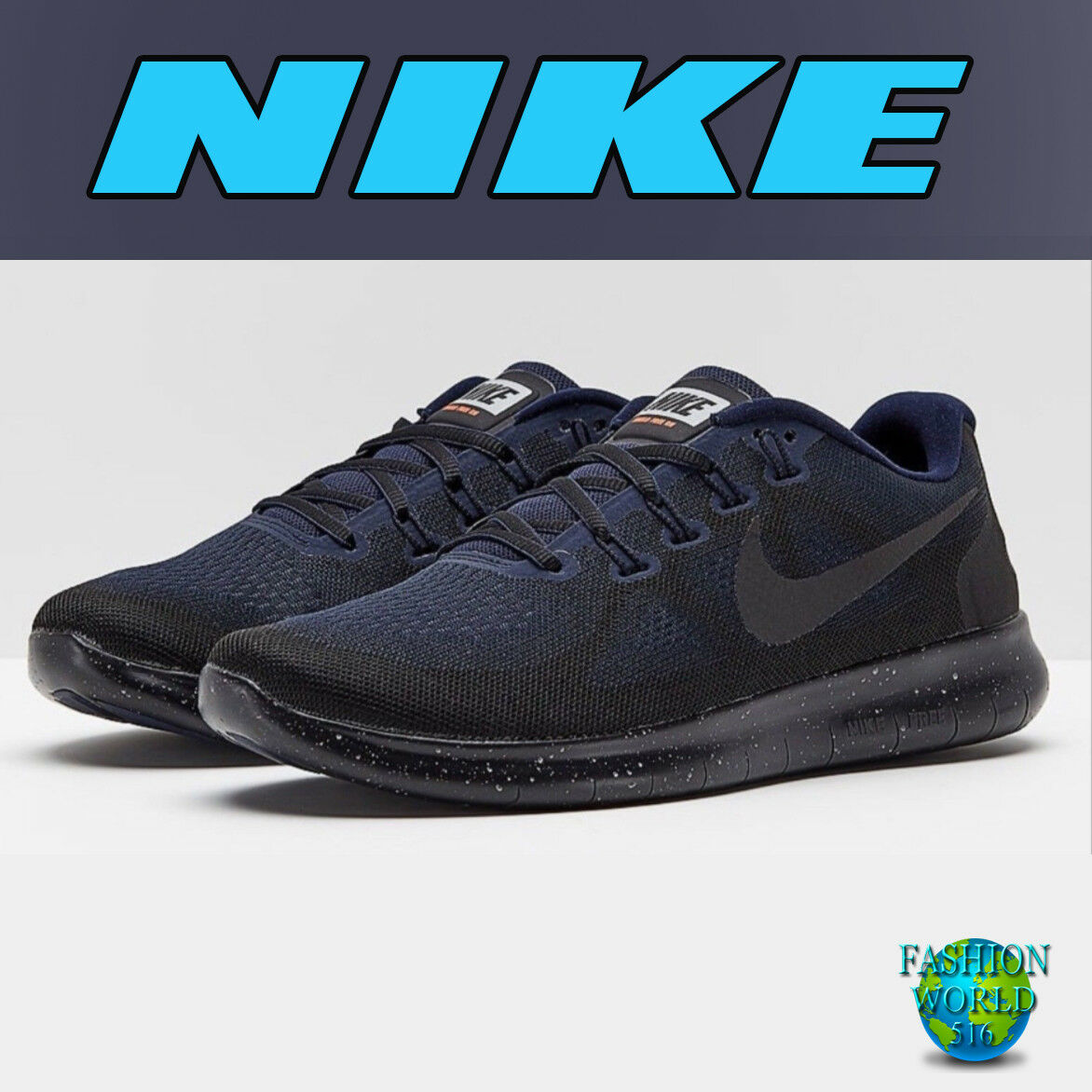 Nike Men's Size 11 Free RN 2017 Shield Running shoes Black Obsidian AA3760 001