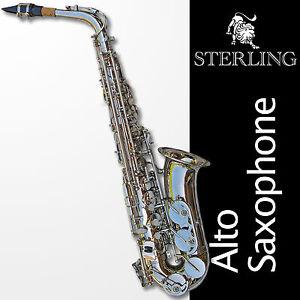 Silver-Alto-Sax-Brand-New-STERLING-Eb-Saxophone-Case-and-Accessories
