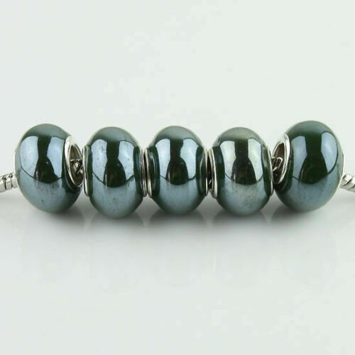 Wholesale Ceramic Rondelle Silver Big Hole Charm Beads for European Bracelet