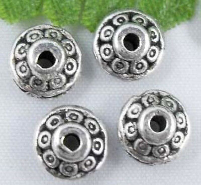 Free Ship 80Pcs Tibetan silver Flying saucer shape spacer 7x3mm