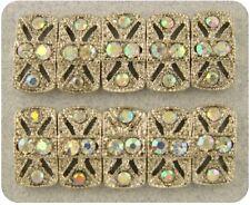2 Hole Beads Marcasite Tablets Aurora Borealis Swarovski Crystal Elements QTY 10