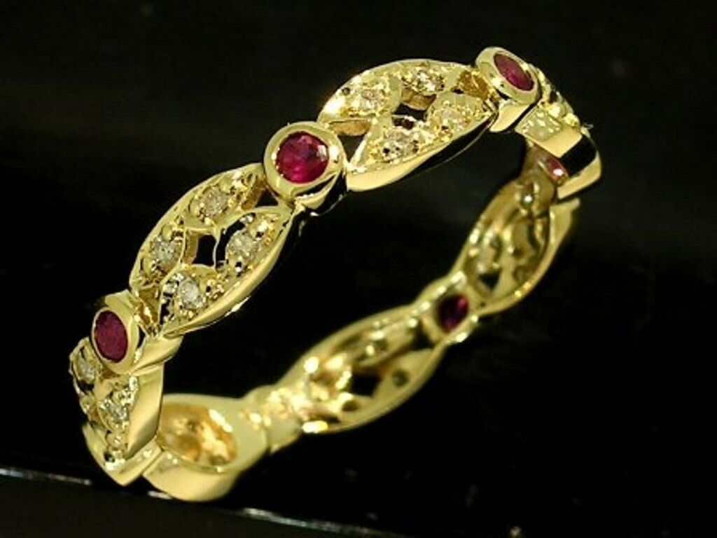 R133 Genuine 9ct Yellow gold Natural RUBY & DIAMOND Full Eternity Ring size N