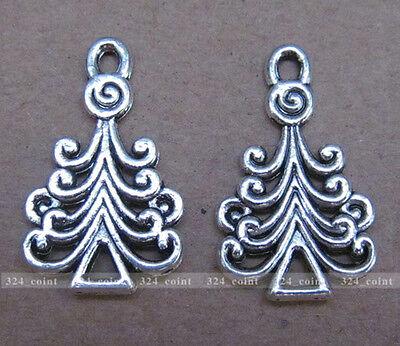 P061 12pcs Tibetan Silver Charm Christmas tree Retro Accessories Wholesale