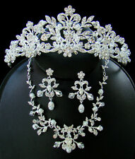 Stunning Silver Crystal Couture Wedding Bridal Tiara Necklace Jewelry Set