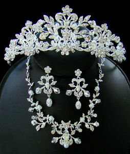 Silver-Crystal-Couture-Wedding-Bridal-Quinceanera-Tiara-Necklace-Jewelry-Set