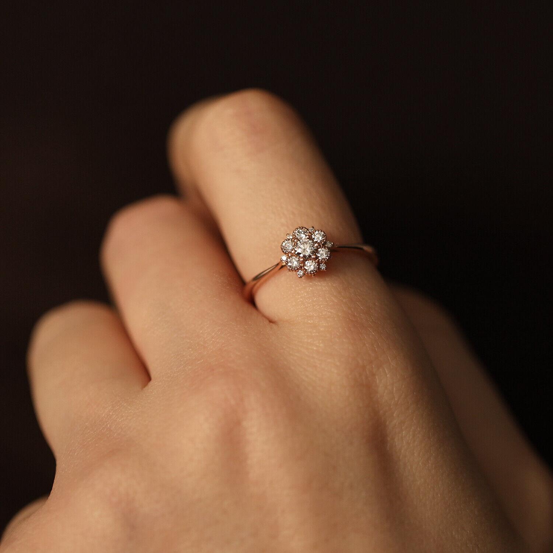 Flower Diamonds Cluster Ring, Wedding Engagement Promise Proposal Ring