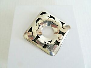 Vintage Mexico Signed 925 Silver Large Tribal Openwork Pin Brooch Pendant