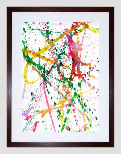 ABSTRACT WATERCOLOR PAINT SPLAT BLACK FRAME FRAMED ART PRINT PICTURE B12X9148