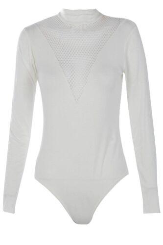 Womens Mesh Fish Net Insert Plunge Neck Bodysuit Ladies Black Long Sleeve Top
