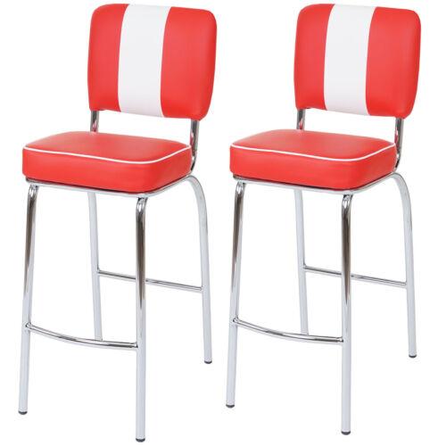 similicuir ~ rouge//blanc 2x tabouret de bar Avellino chaise de comptoir rétro