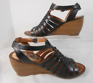 Bare-Traps-IVANIA-Womens-Wedge-Heels-Size-7-5-M-Leather-Strappy-Slingback-Black
