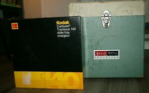 Vintage-Kodak-500-Slide-Projector-in-Carrying-Case-with-Slide-Carouse
