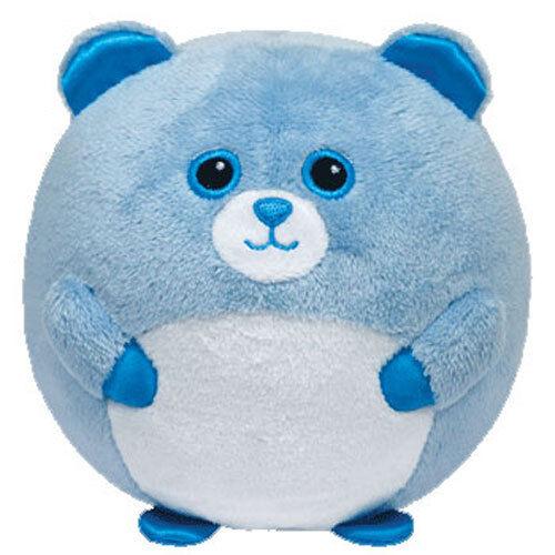TY Beanie Baby Ballz BLUEY the Blue Bear w// Rattle Regular Size - 5 inch