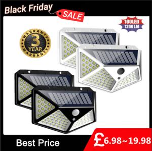 100-LED-Solar-Power-PIR-Motion-Sensor-Wall-Light-Outdoor-Garden-Lamp-1-4-Pack