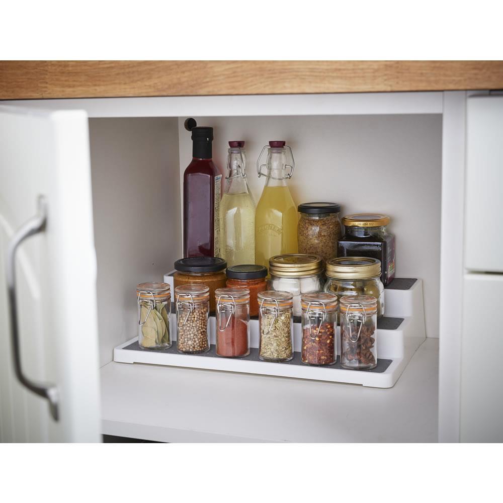 Kitchen 3 Tier Cupboard Organiser Steps Holder For Tins Jars Smart Storage Shelf