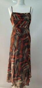 Per-Una-M-amp-S-Dress-Slip-On-Ruched-Print-Strap-Brown-Chiffon-A-line-Autumn-12-L