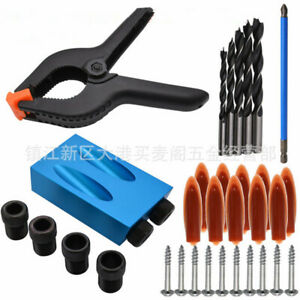 15° Angle Pocket Hole Screw Jig Kit Dowel Drill Guide Carpenters Wood Joint Tool