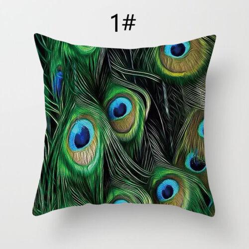 "18/""x18/"" Pillowcase Peacock Feather Printed Pillow Cover Colorful Cushion Sofa CA"