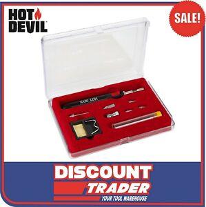 Hot-Devil-9-Piece-Butane-Gas-Slimline-Torch-Soldering-Iron-Kit-HT1937K