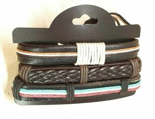 Heren Leder Armband 3-reihen  braun Neu p.Pita Collection