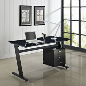 newest efd3f 3debd Details about Computer Desk PC Table Office Furniture Black/White Glass Top  and Sides Drawers